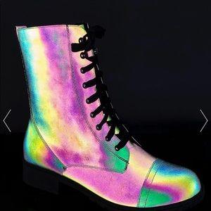 Rainbow reflective combat boots
